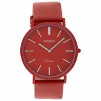 OOZOO C9885 Vintage Horloge aluminium/leder chilipepper rood 40 mm 1