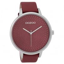 OOZOO C9727 Horloge staal/leder Burgundy 48 mm 1