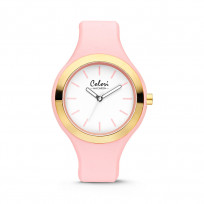 Colori Horloge Macaron staal/siliconen goudkleurig-roze 44 mm 5-COL432 1