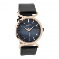 OOZOO Horloge Timepieces Collection staal/leder rosekleurig-zwart C9529 1